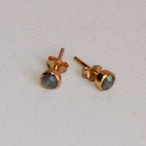 Faceted Labradorite Gold Vermeil Silver Earrings